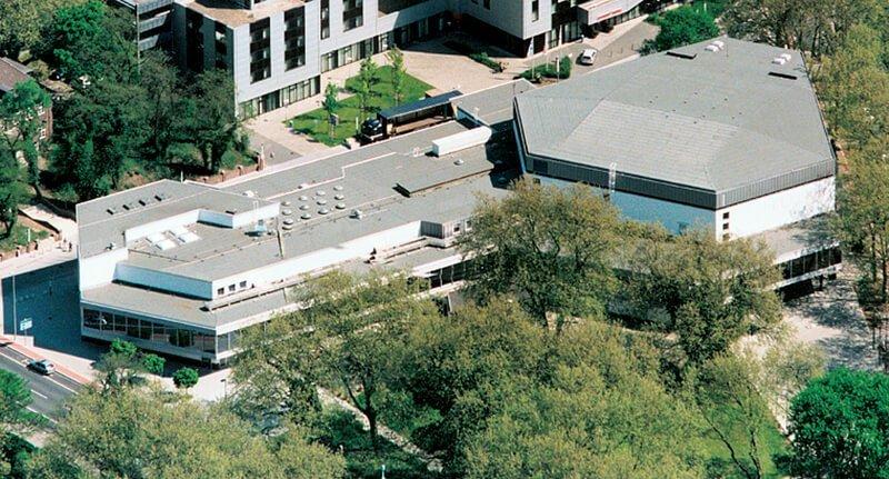Blick von oben auf das Kongress Zentrum in Oberhausen